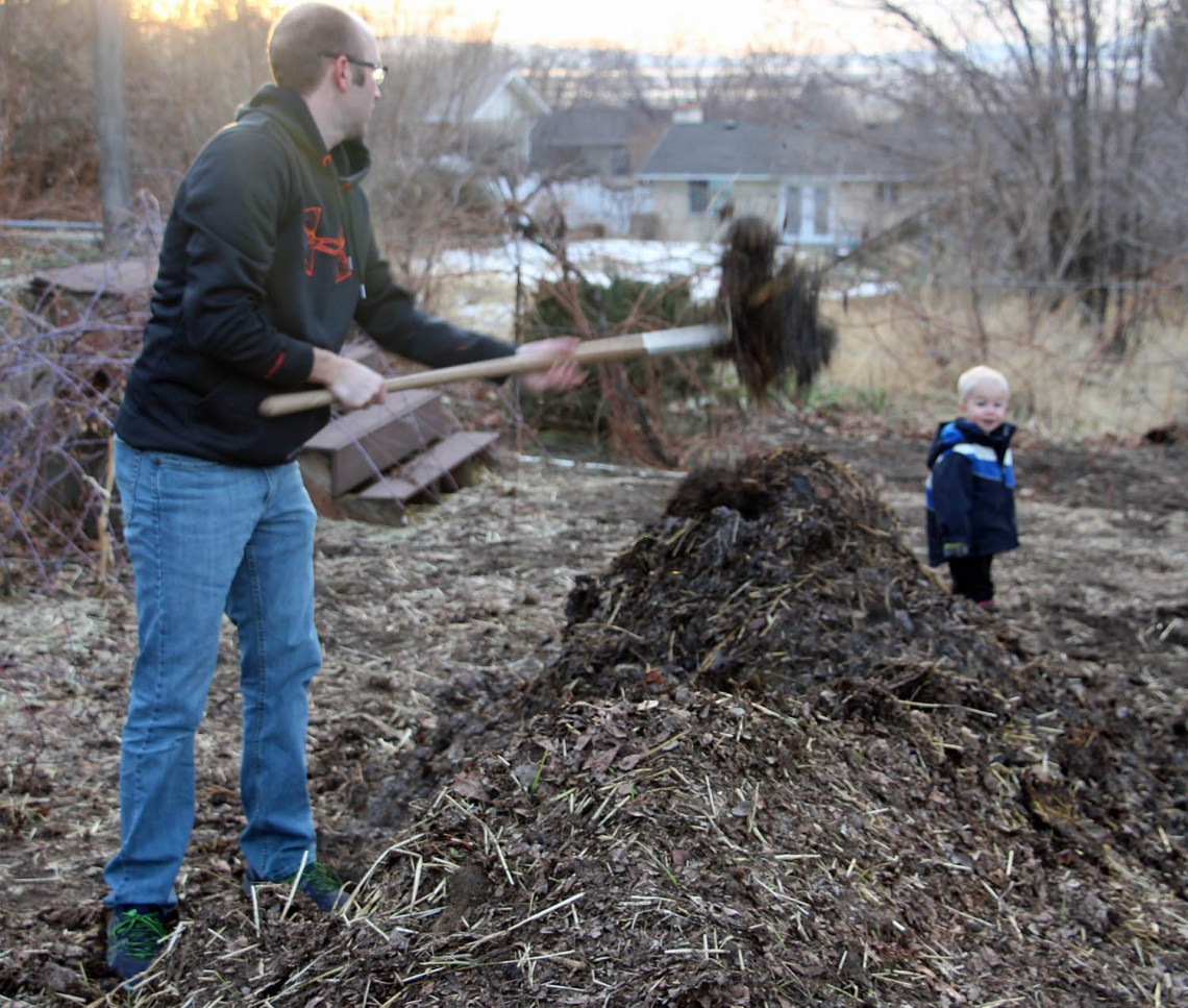 turning the compost pile
