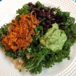 Kale, quinoa, black bean, sweet potato and avocado salad