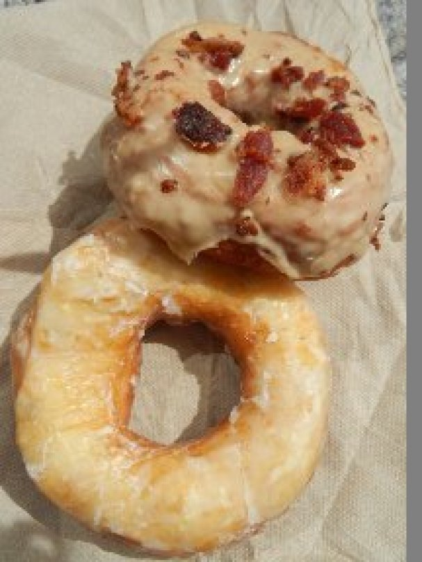 Lemon and maple/bacon doughnut from the Holy Donut