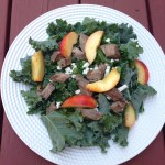 Kale Salad with Steak, Feta Cheese, and Peaches