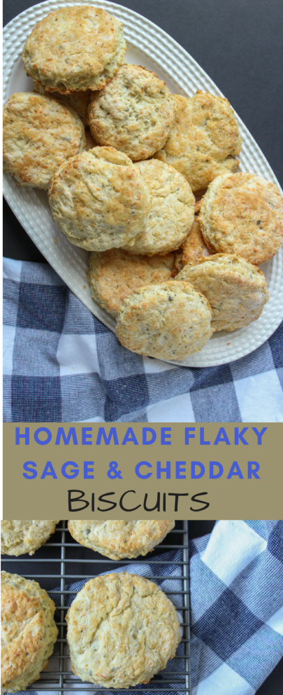 Homemade flaky sage and cheddar biscuits