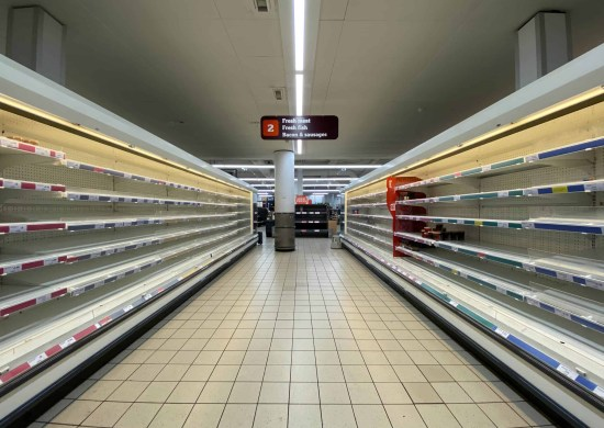 Empty supermarket during lockdown