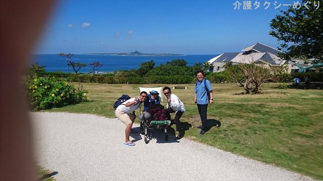 眼下に伊江島タッチューが眺めるフォトジェニックスポットから。
