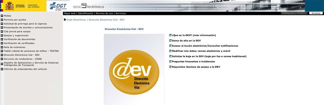 DEV (Dirección Electrónica Vial)