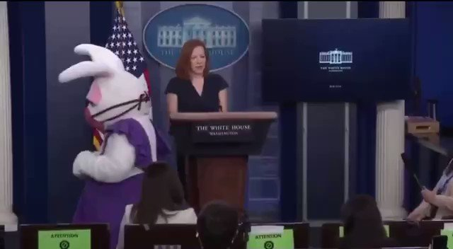 UPDATE - Masked Easter Bunny at the press conference.