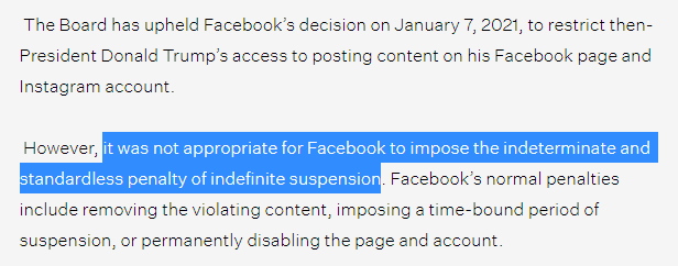 Facebook's indefinite suspension of Trump is not appropriate, according to the Oversight Board.