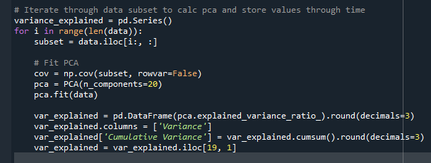 What is the line of code that I need to append variance_explained with var_explained, with each iter