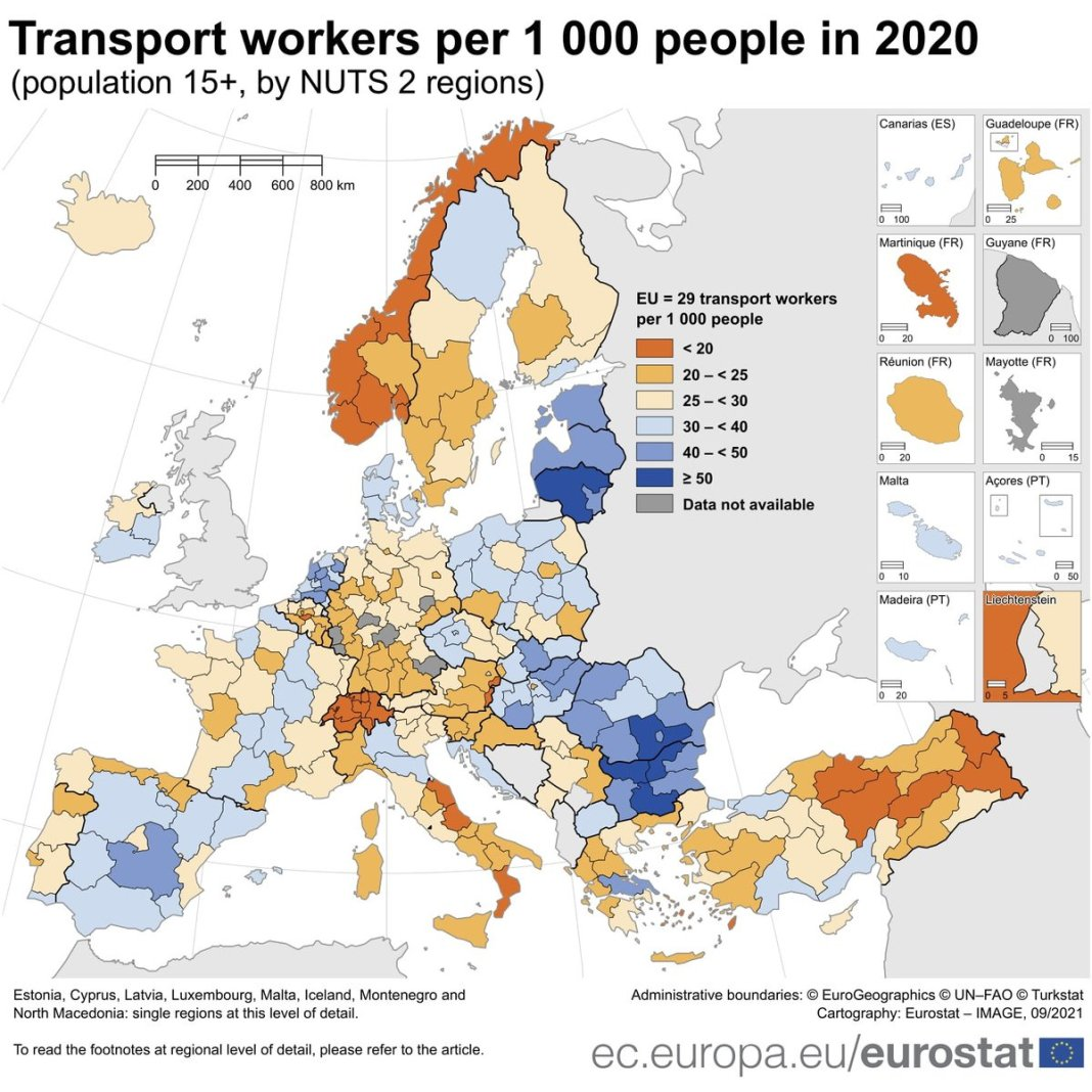 🚚🚛In 2020, on average, there were 29 #transport workers per 1,000 people in the #EU. Highest
