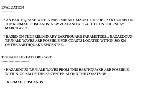 TSUNAMI WARNING issued via @NWS_PTWC from new M7.5 earthquake off New Zealand.