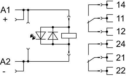 WAGO Postolje relea sa priključnim industrijskim releom - 24 VDC - 2 preklopna kontakta - 858-324