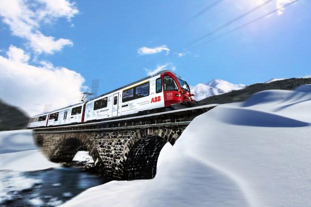 ABB branded Allegra Train for Rhätische Bahn RhB heading from Landquart to Davos and Filisur