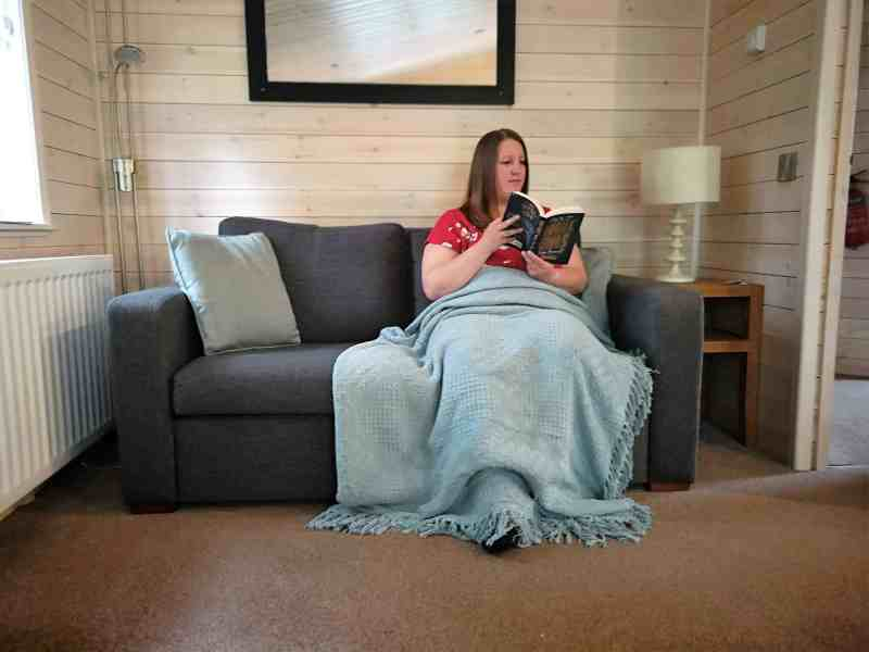 Me reading in the lodge