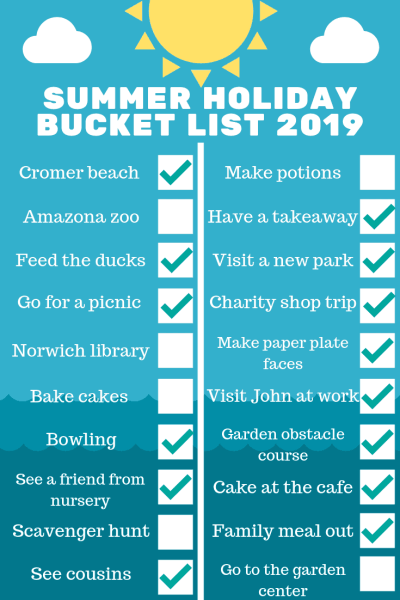 Summer holiday bucket list 2019