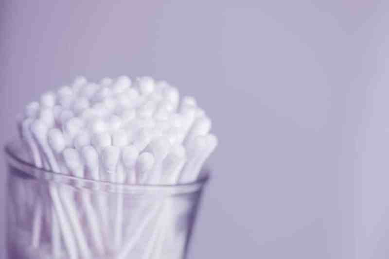 Cotton buds in a pot