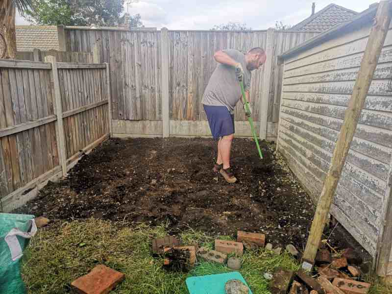 Preparing land for the new shed