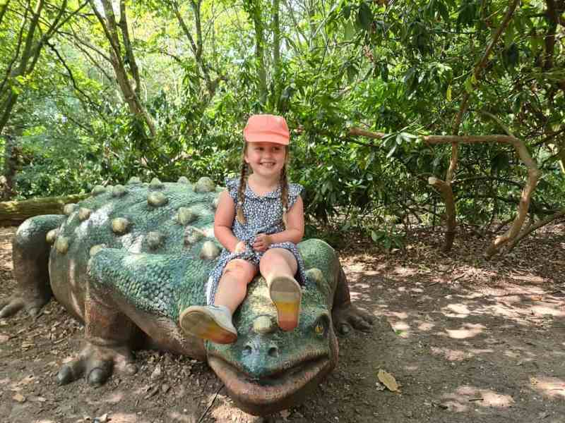 Erin on a dinosaur