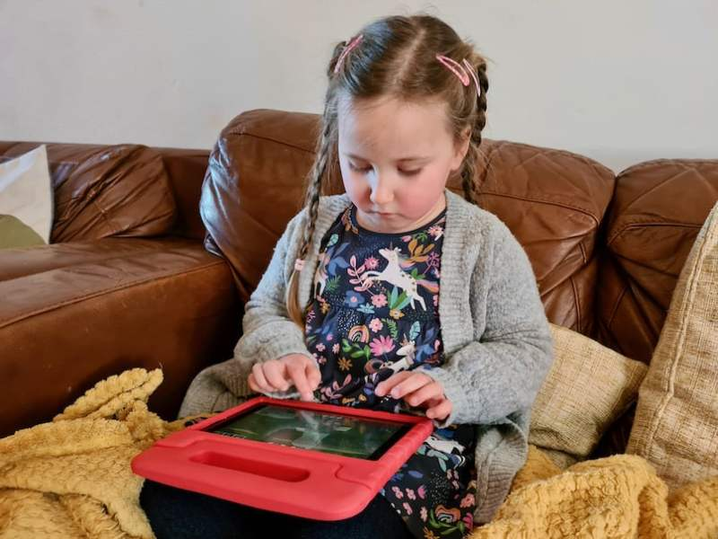 Erin using a tablet