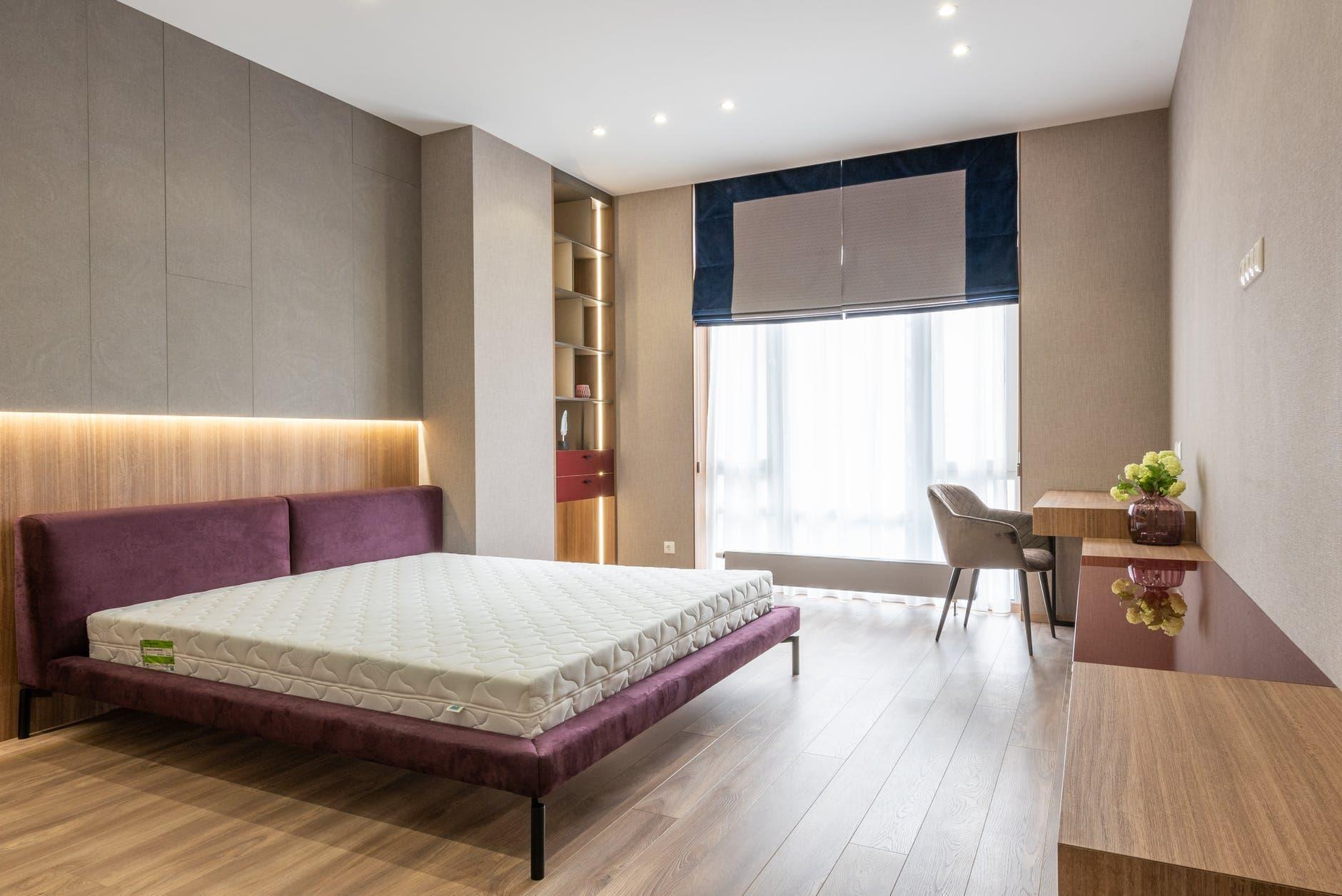 spacious empty bedroom in stylish design