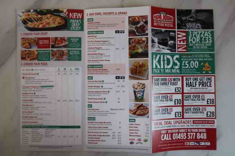 Papa John's Haven Caister-on-Sea Menu