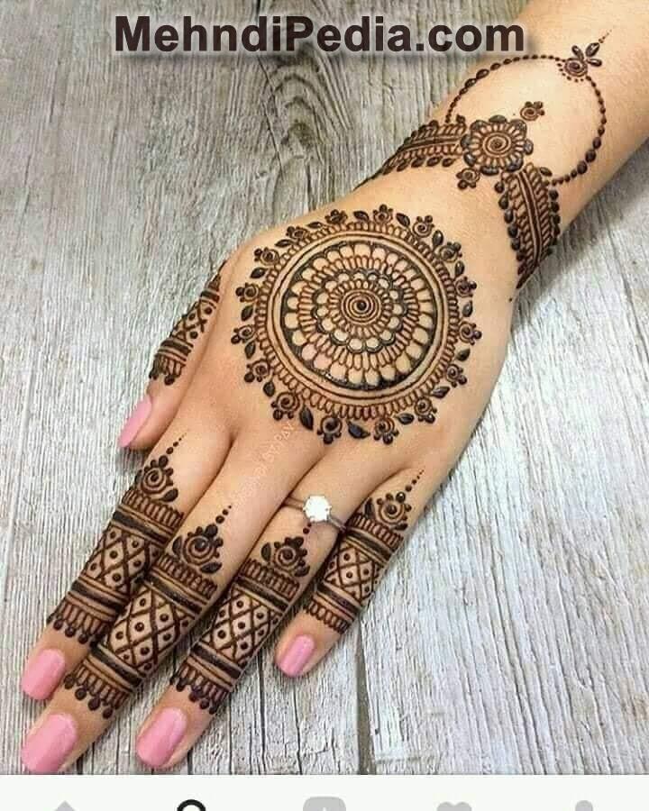 Simple Henna Design For Front Hand , Latest Henna Design Ideas