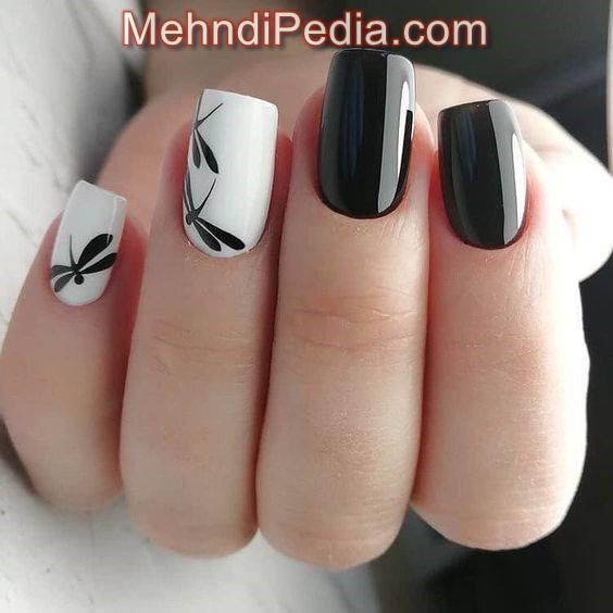 black and whit bail nail art