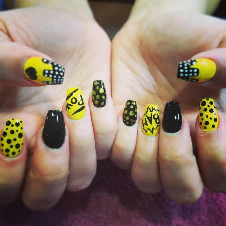 yellow and black color nail art designs