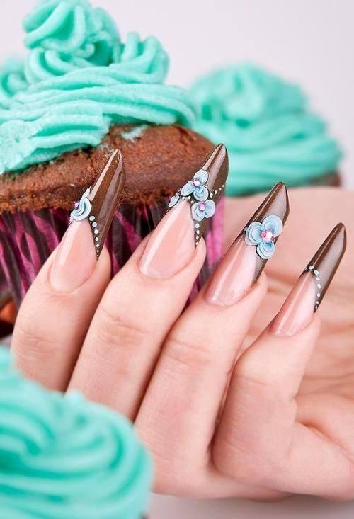 maroon nail art designs for long nail