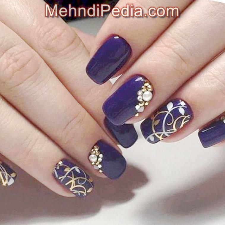 toe nail art designs step by step blue color