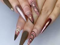 Pink And Silver Stripes Nail Art