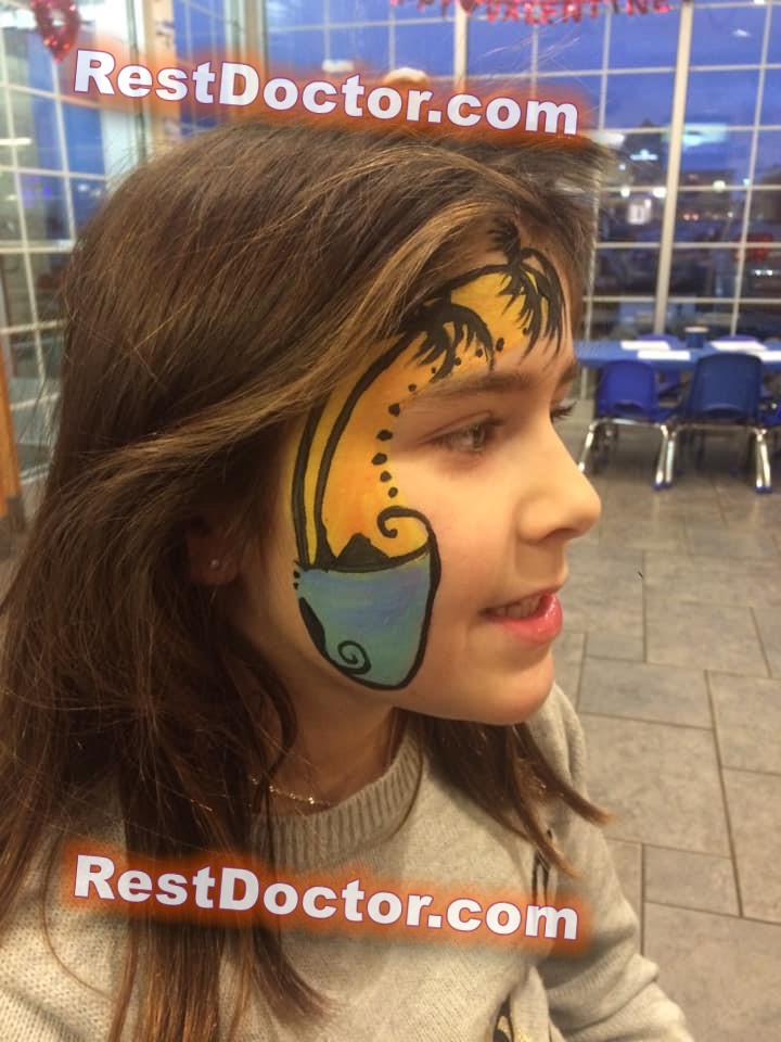 palm tree face paint on kids face