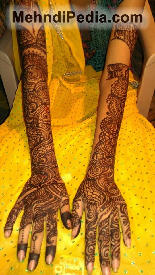full hand and arm dark mehndi desings for mehndi ceremony