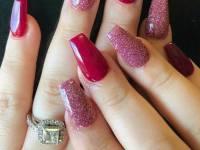 Gold And Pink Triangle Nail Design polish