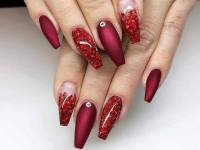 Glitter French Tips back side view red colour