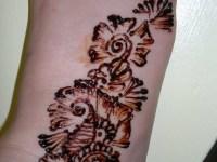 right side feet Henna mehndi designs close one