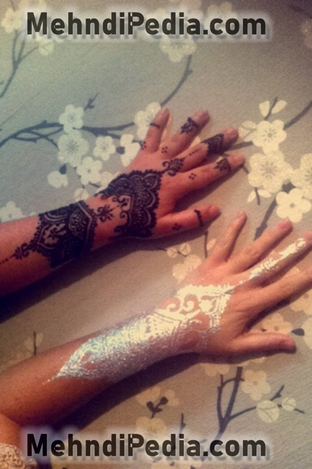 white and black mehndi designs for collage girls