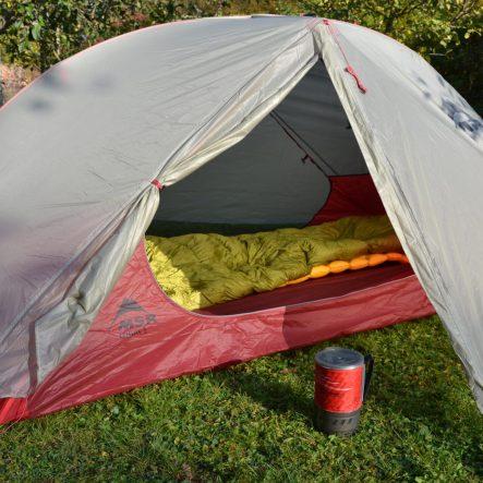 Gemütliches Nachtlager für laue Nächte: MSR Freelite II, SeaToSummit Ultralight Mat und Cumulus LiteLine 200