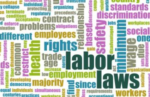 Image of terms of labor laws, employment law, discrimination, workplace law, and other employment law terms