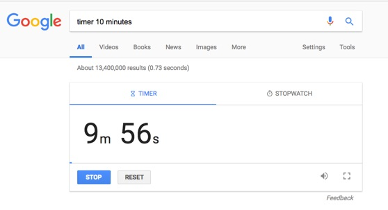 Google Search: Timer & Stopwatch