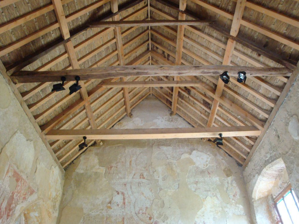 Inside the little church, new roofing, had to be done.