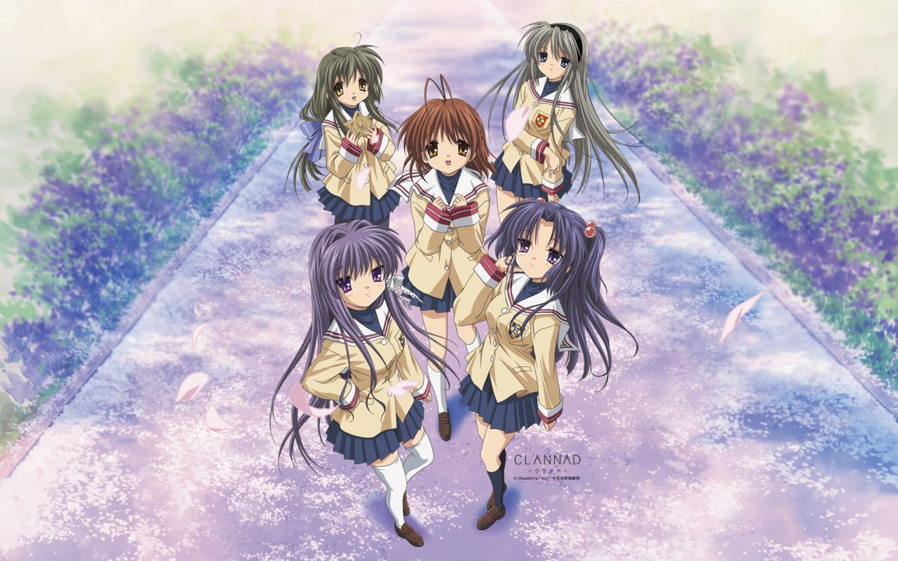 The 5, most important girls of Clannad. Sad that Ryou's not there, but not a big fan of the Fujibayashi twins anyhow.