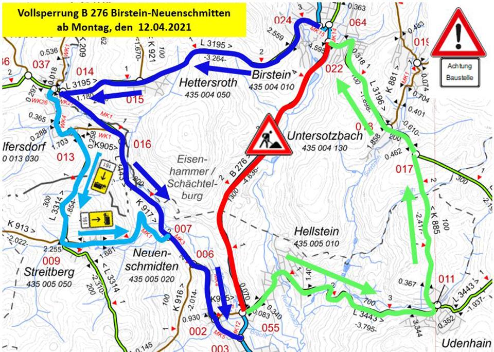 B 276: Vollsperrung ab der zweiten Osterferienwoche erforderlich