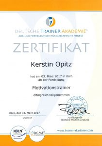 Kerstin Opitz Zertifikat zur Motivationstrainerin