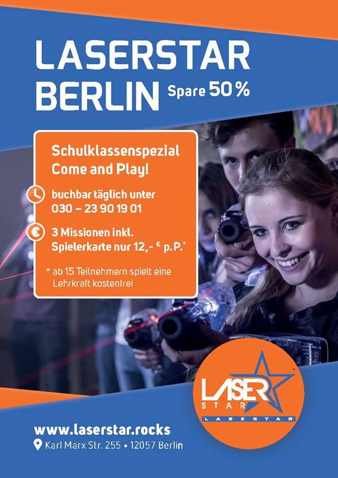 50% Rabatt für Schulklassen bei Laserstar Berlin mein lasertag