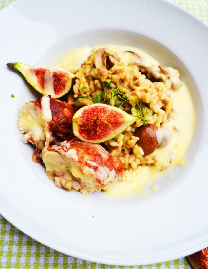 Ein Star im Herbst! Schwammerlrisotto mit Parmesan-Sabayon und gefüllter Hühnerbrust