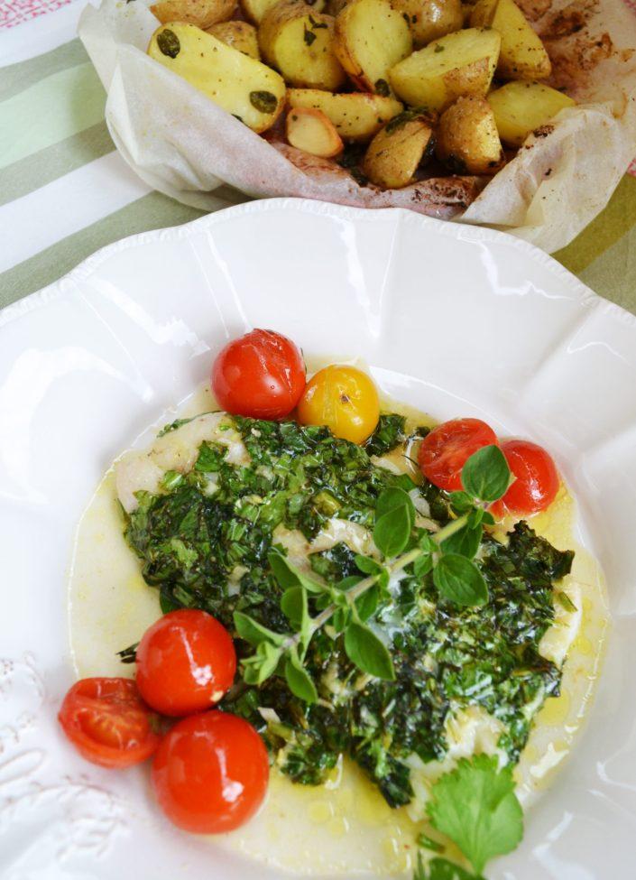 F(r)isch aus dem Ofen! Gekräuteter Kabeljau mit Oregano-Kartoffeln