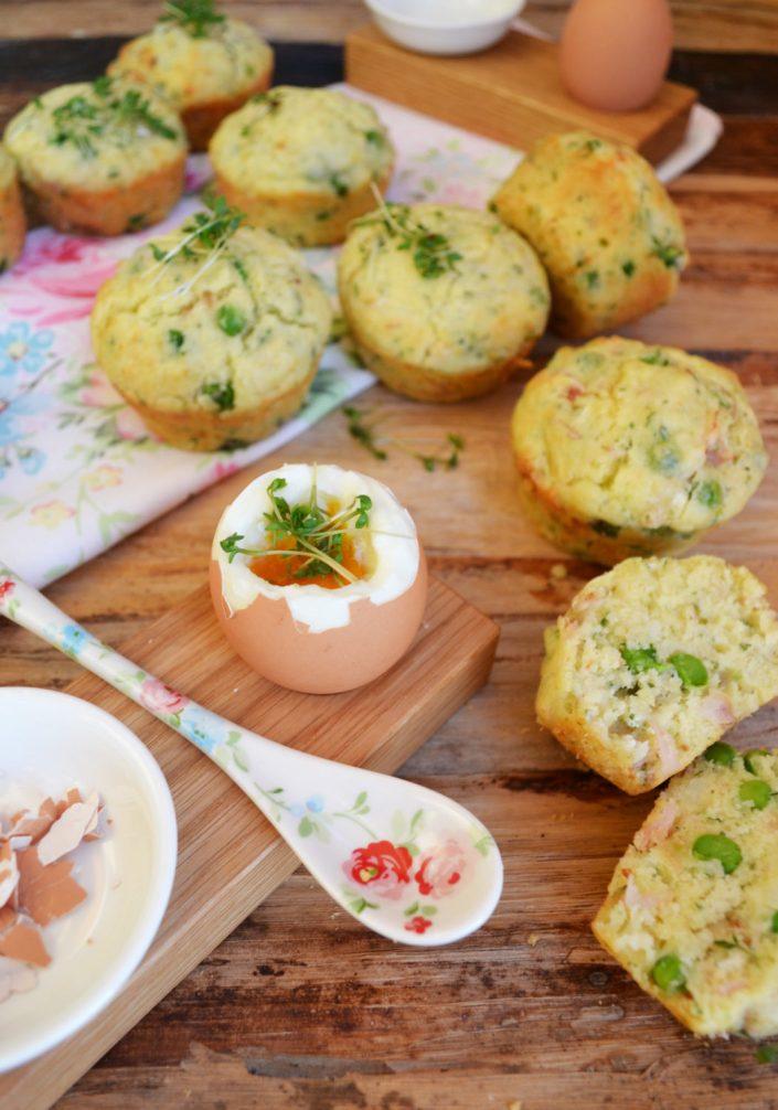 Pikanter Frühlingsgruß! Ziegenkäse-Muffins mit Erbsen