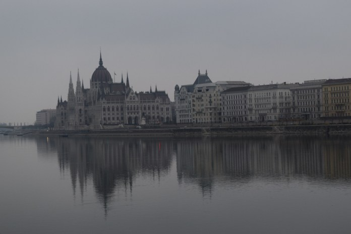 The Parliament building in Pest viewed from the Buda side.