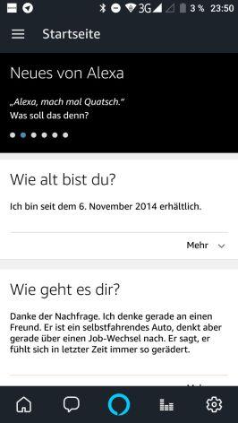 Alexa Sprachassistent in Alexa App