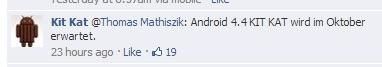 """""""O Android 4.4 KitKat está previsto para outubro."""""""