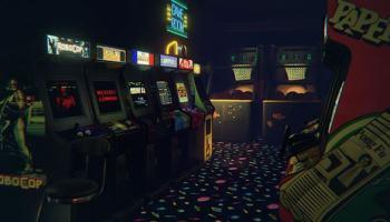 Explorando um arcade com um óculos de realidade virtual